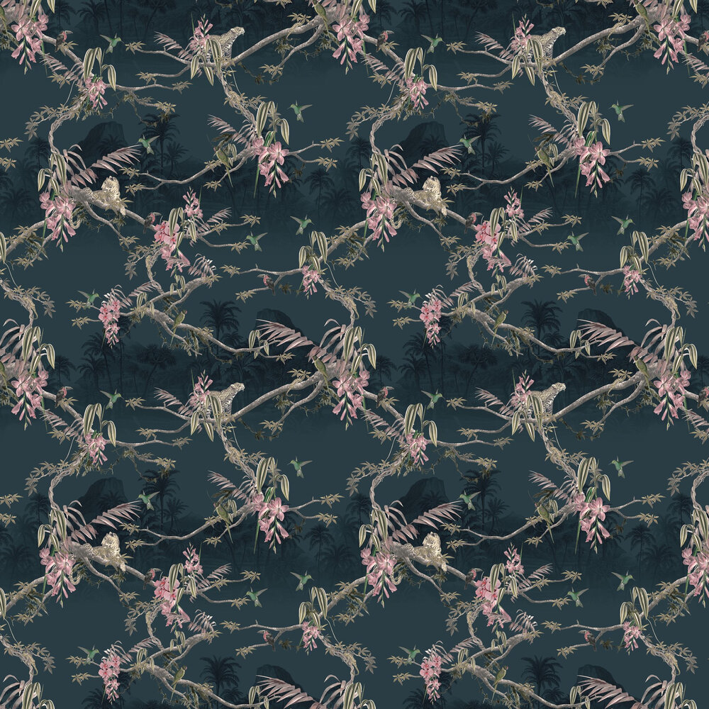 Hibiscus Wallpaper - Navy - by Ted Baker