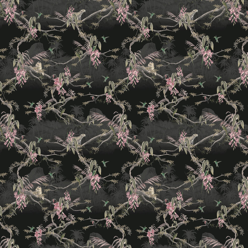 Hibiscus Wallpaper - Black - by Ted Baker