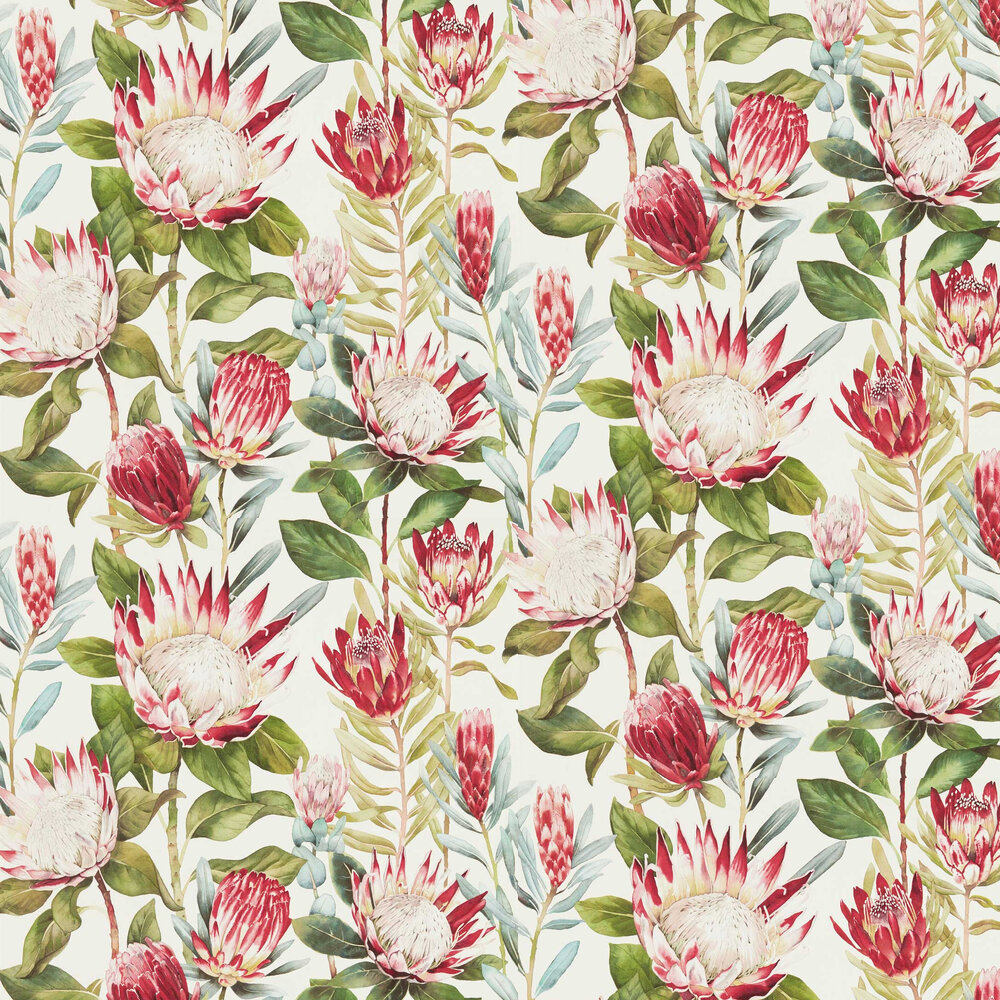 King Protea Wallpaper - Bengal / Artichoke - by Sanderson