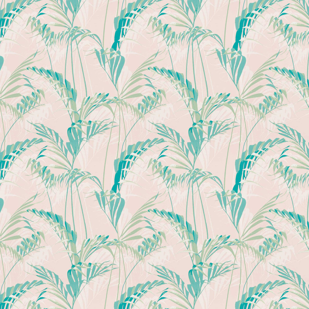 Palm House Wallpaper - Rose / Eucalyptus - by Sanderson