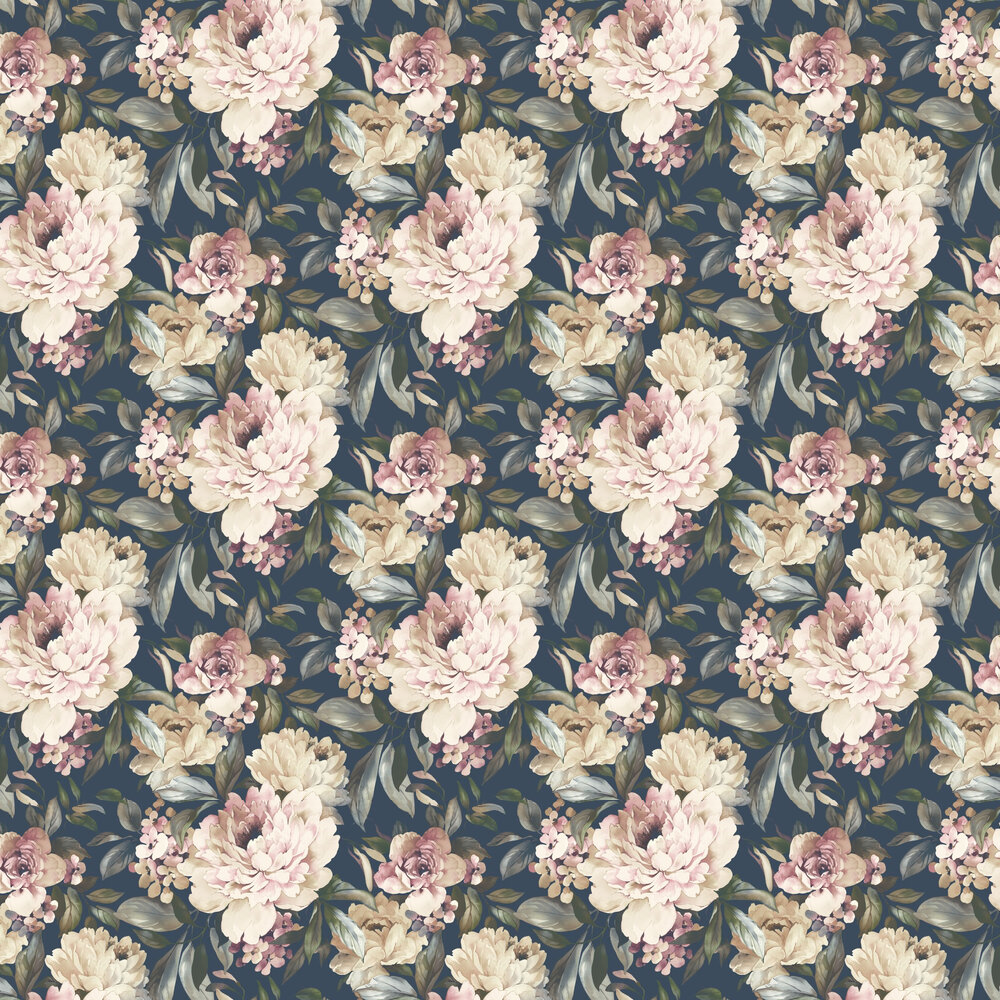 Gardenia Wallpaper - Navy - by Albany