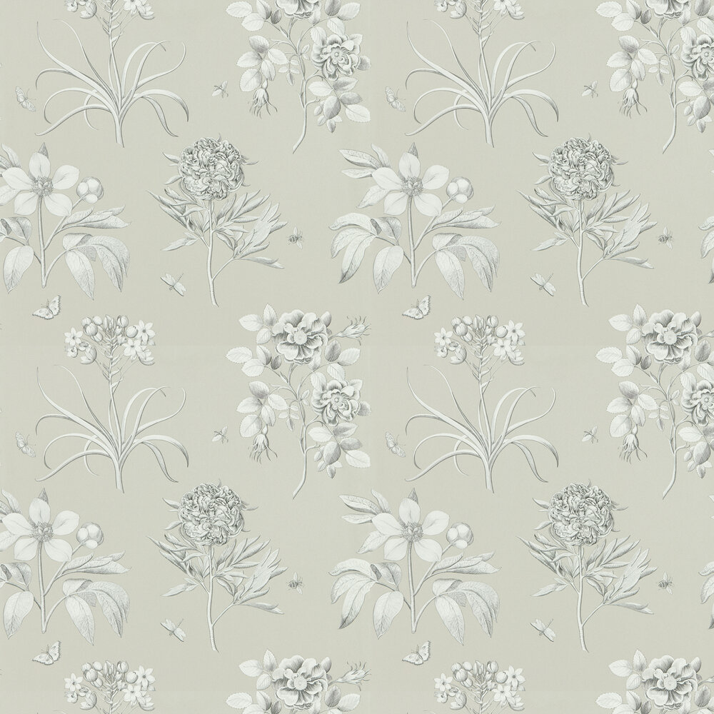 Etchings and Roses Wallpaper - Soft Pewter - by Sanderson
