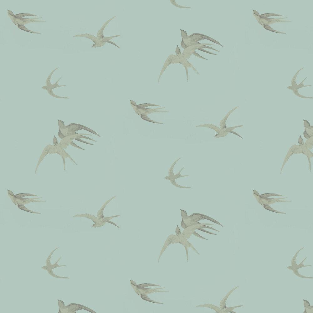 Swallows Wallpaper - Scotch Grey - by Sanderson