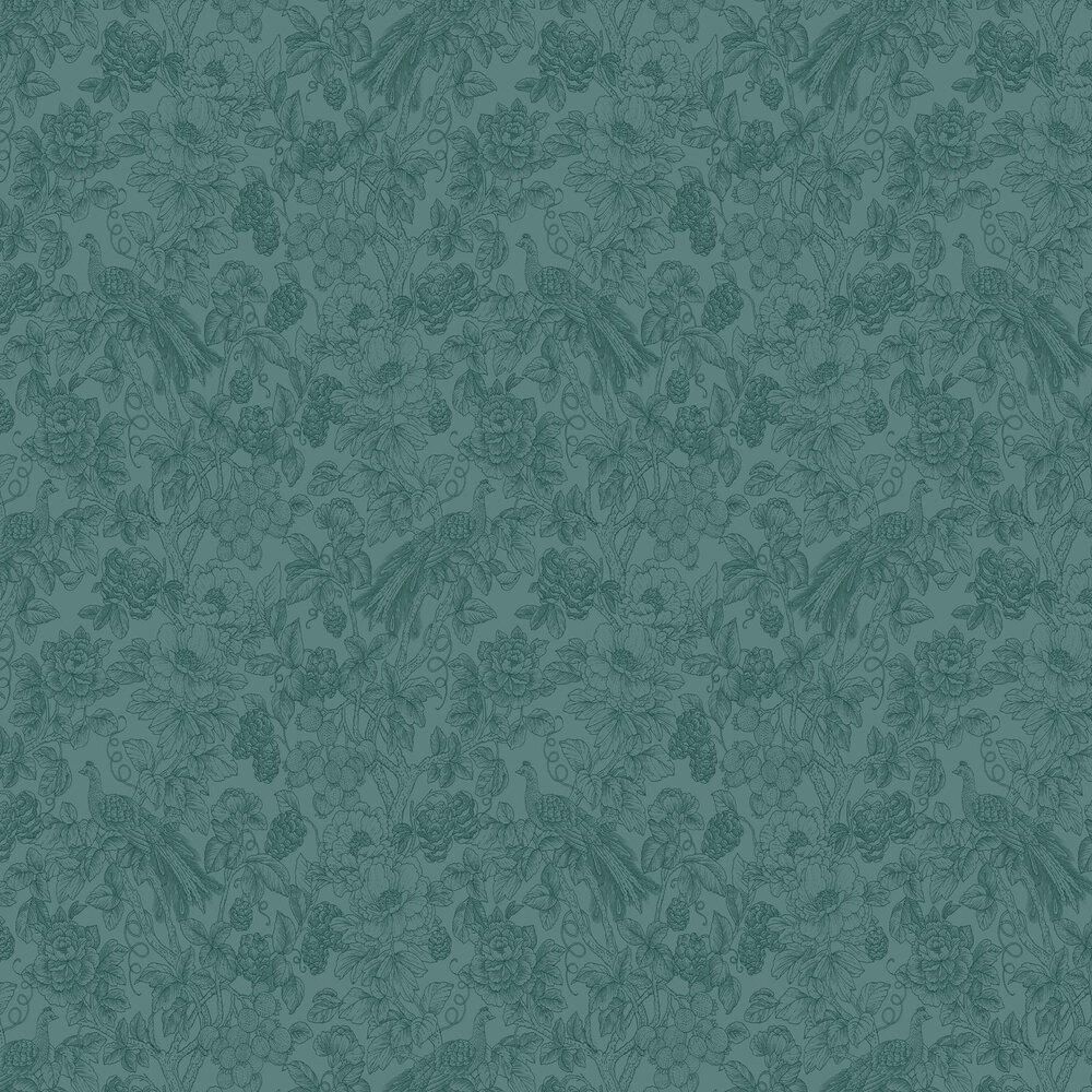 Feather Wallpaper - Turquoise - by Casadeco