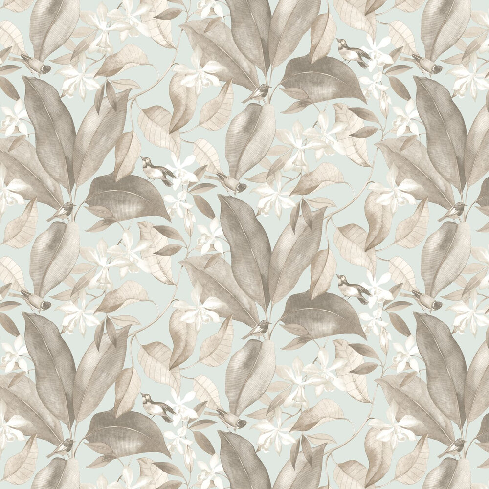 Birdsong Wallpaper - Blue / Taupe - by Casadeco