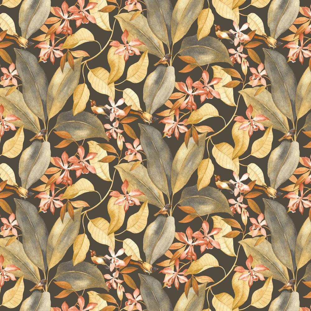 Birdsong Wallpaper - Noir / Orange - by Casadeco