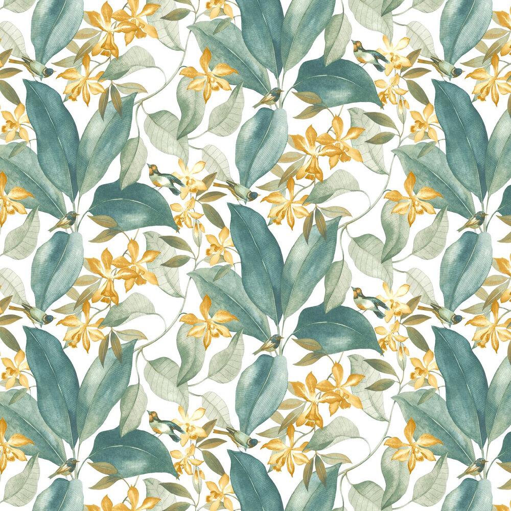 Birdsong Wallpaper - Teal - by Casadeco