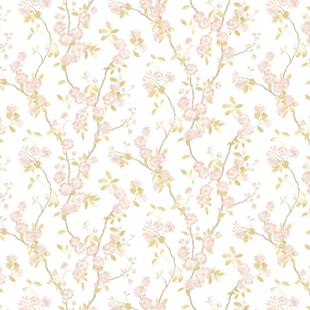 Spring Flower Wallpaper - Taupe / Rose - by Casadeco