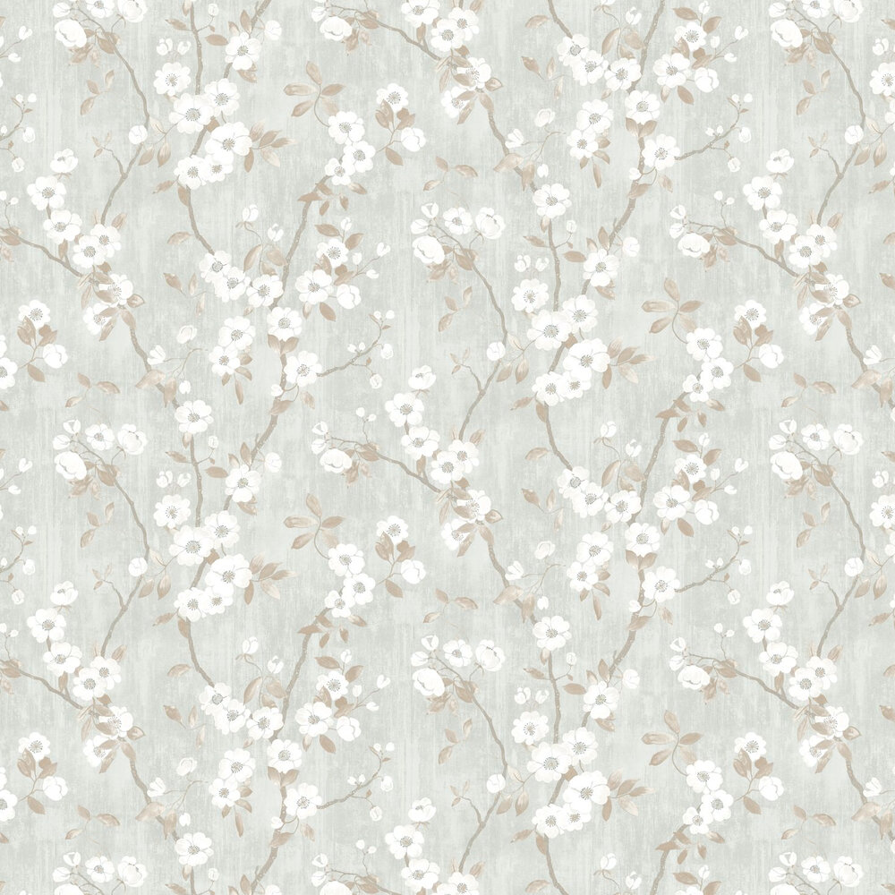 Spring Flower Wallpaper - Taupe / Blue - by Casadeco