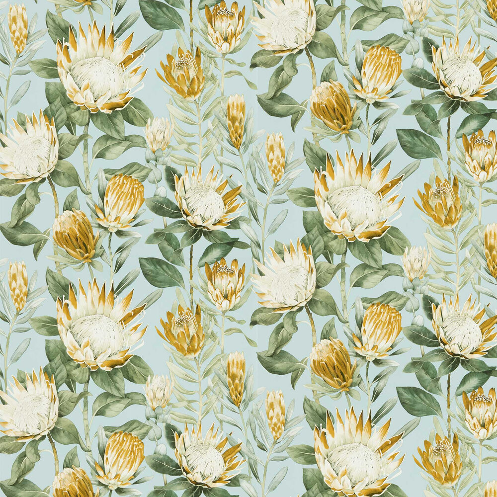 King Protea Wallpaper - Sky Blue / Woodland Yellow - by Sanderson