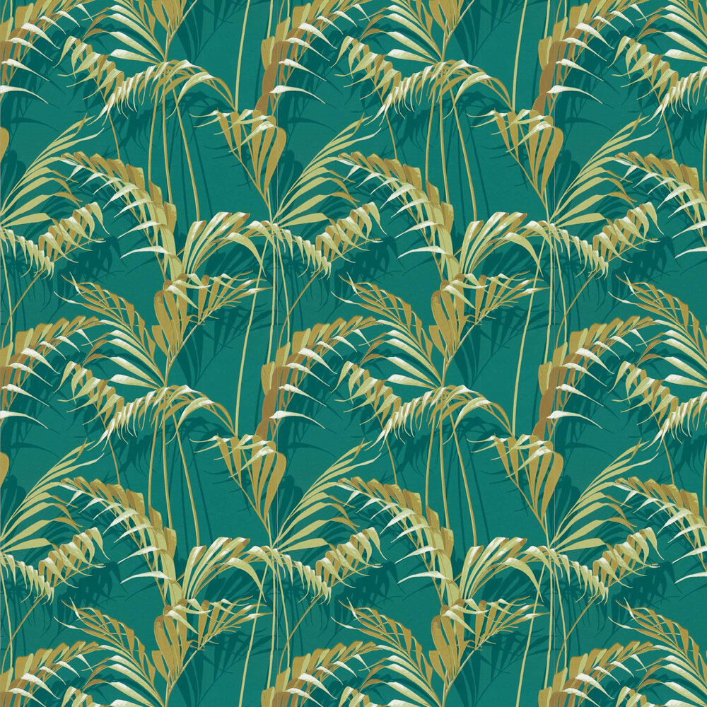 Palm House Wallpaper - Peacock / Gold - by Sanderson
