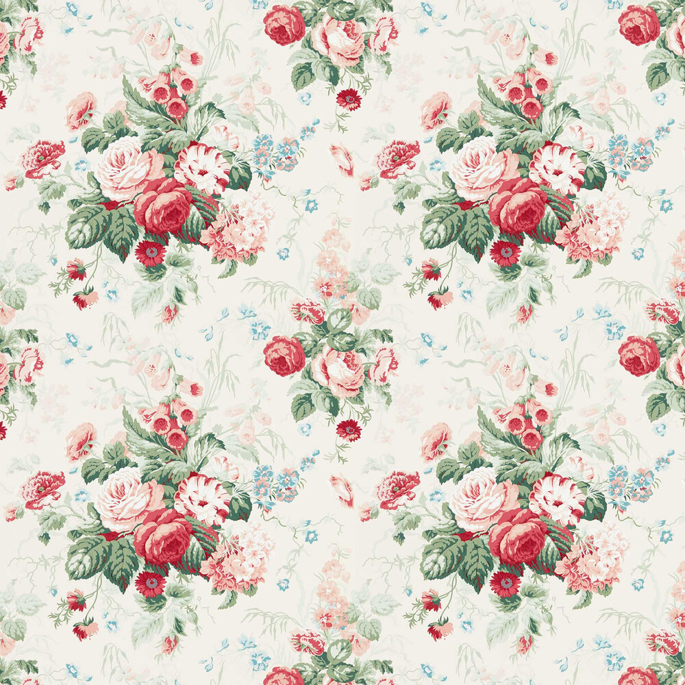 Stapleton Park Wallpaper - Pink / Green - by Sanderson