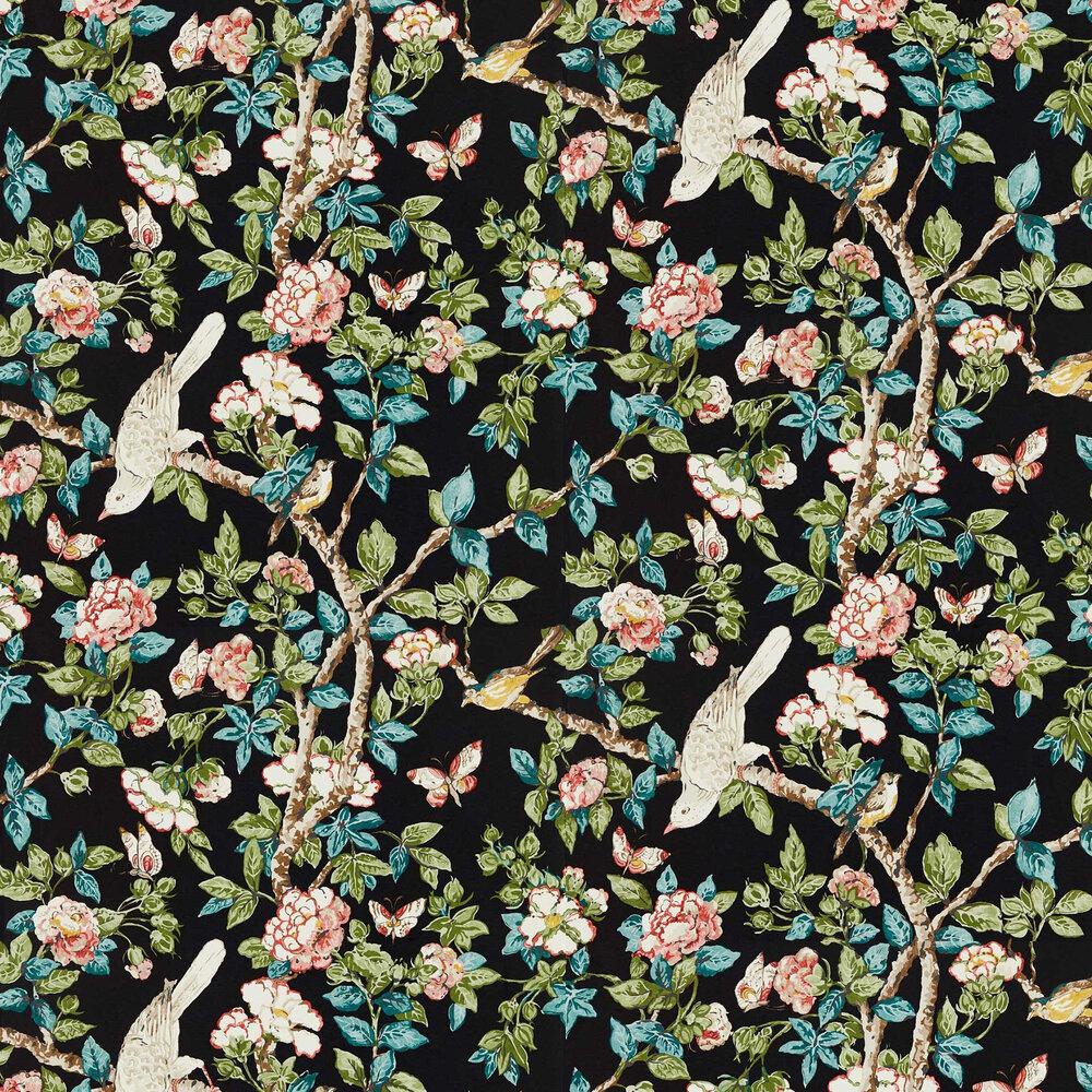 Caverley Wallpaper - Ebony / Coral  - by Sanderson