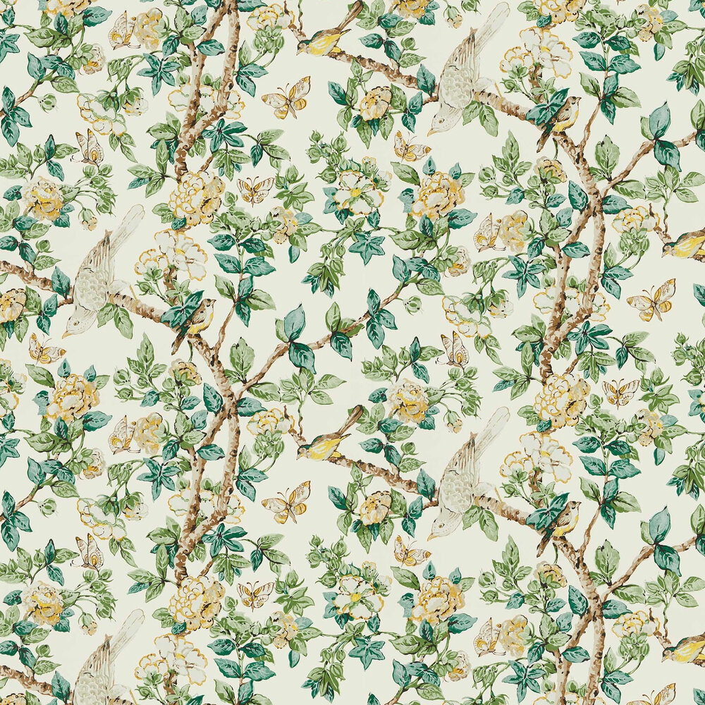 Caverley Wallpaper - Lemon / Devon Green  - by Sanderson