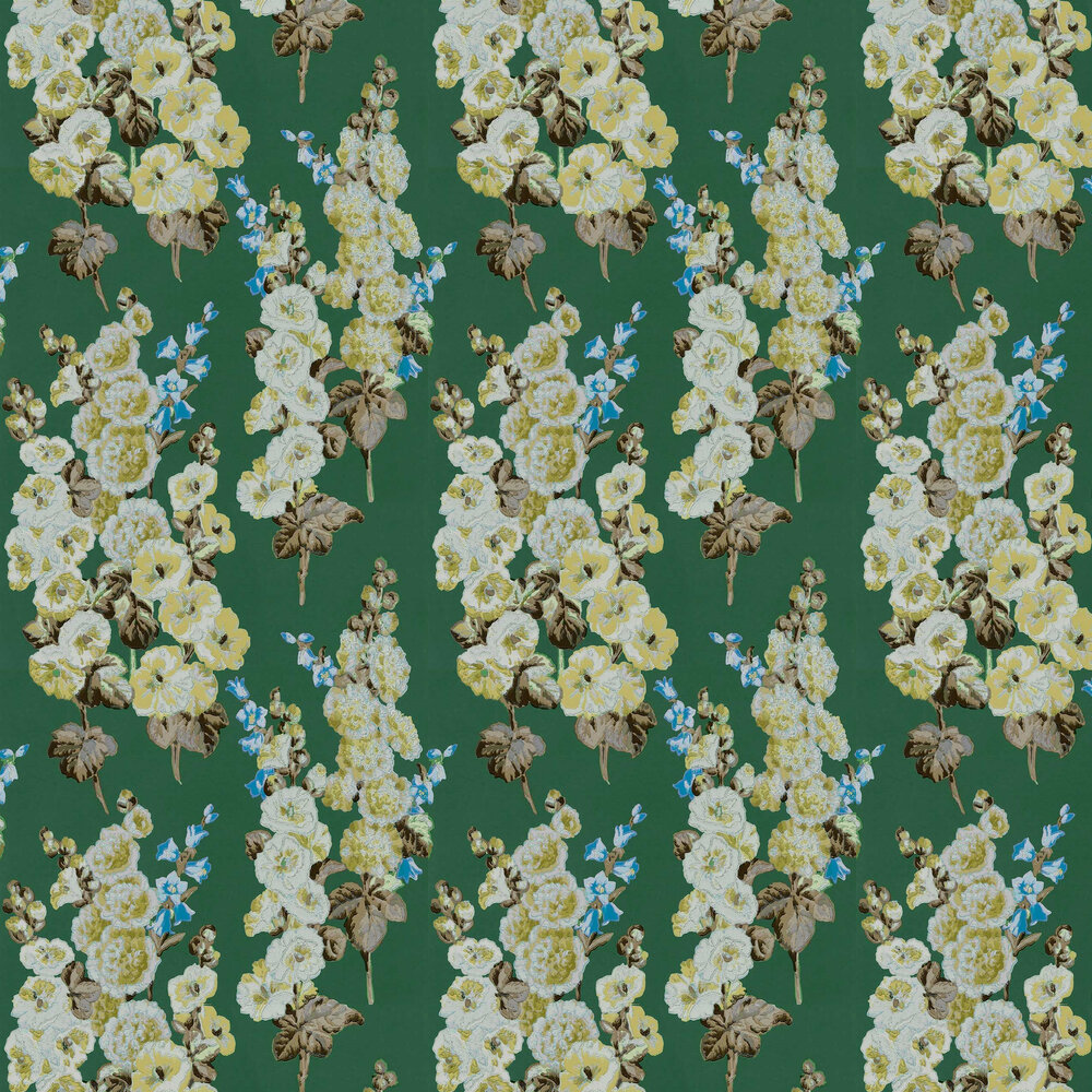 Hollyhocks Wallpaper - Forest / Gold - by Sanderson