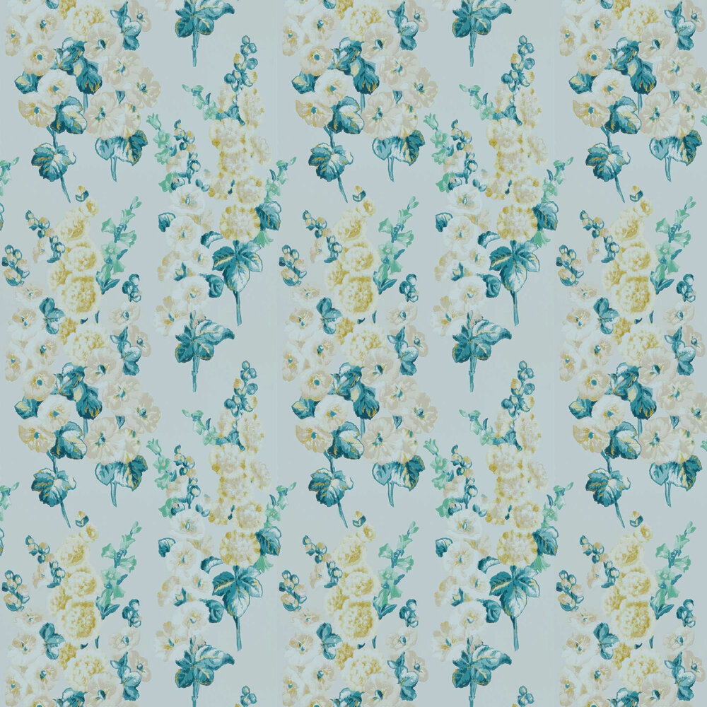 Hollyhocks Wallpaper - Grey Mist / Peppermint - by Sanderson