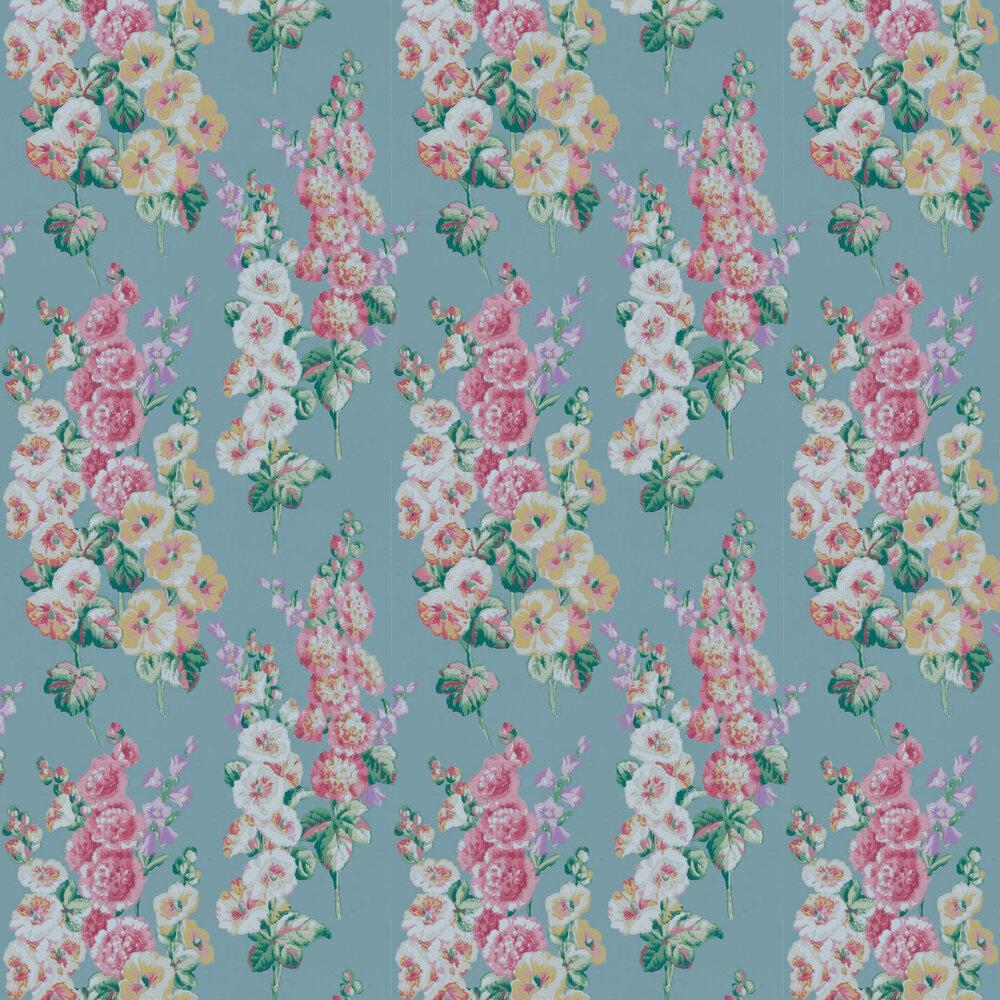 Hollyhocks Wallpaper - Petrol Blue / Multi - by Sanderson