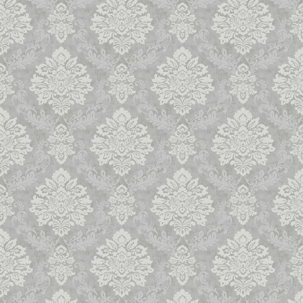 Palazzo Damask Wallpaper - Silver - by Arthouse