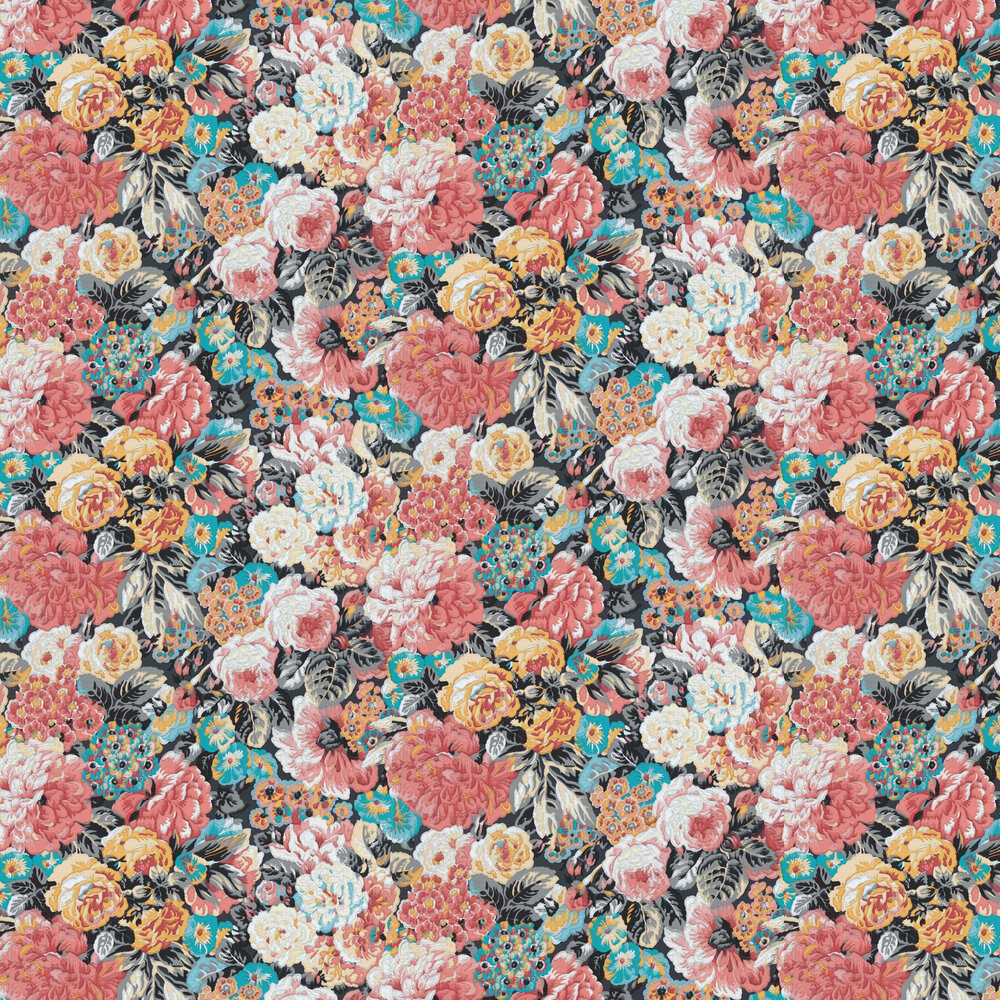 Rose & Peony Wallpaper - Coral / Grey - by Sanderson