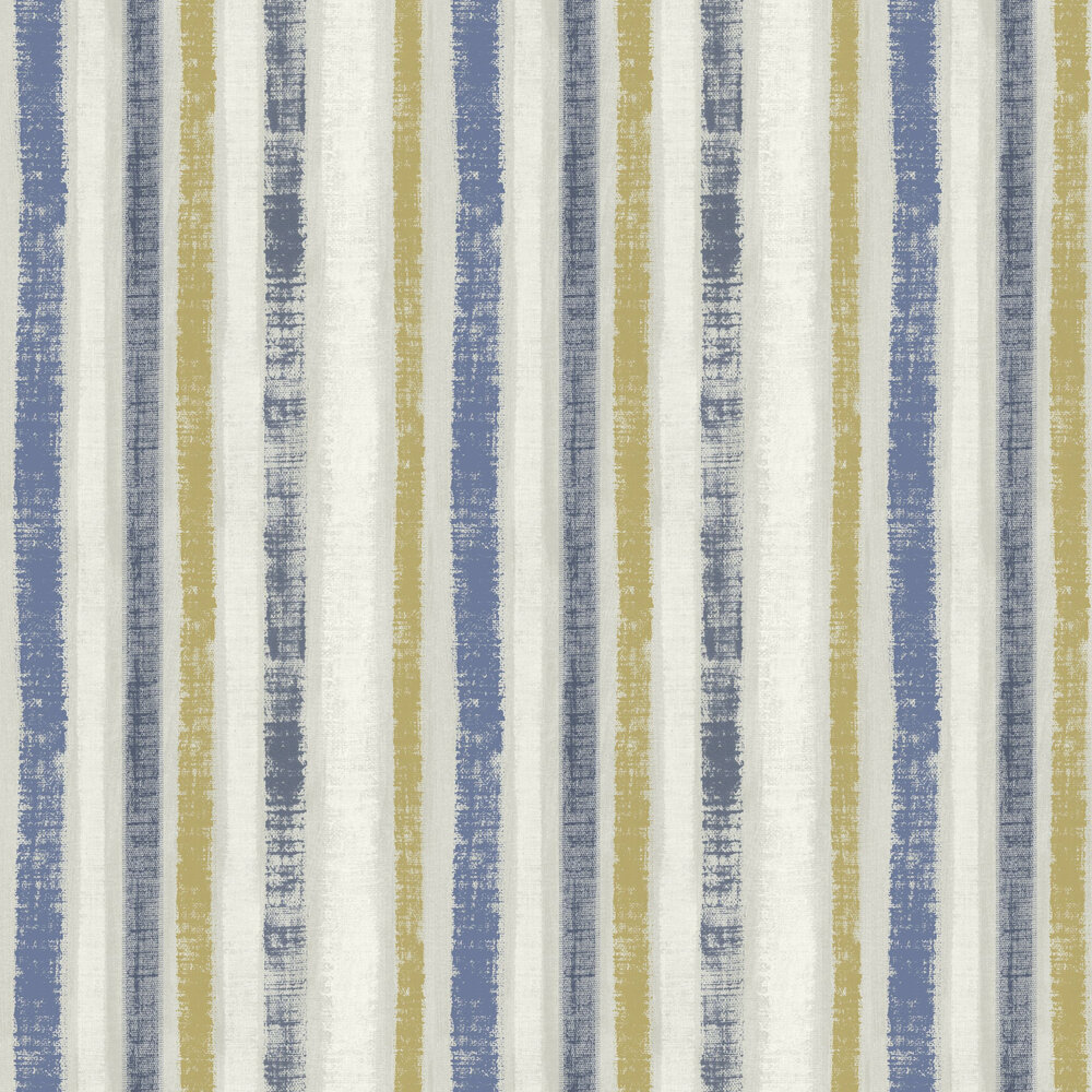Painted Stripe Wallpaper - Navy / Gold - by Arthouse