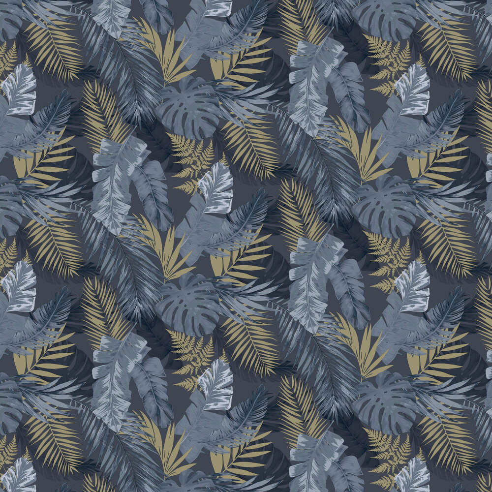 Soft Tropical Wallpaper - Navy - by Arthouse