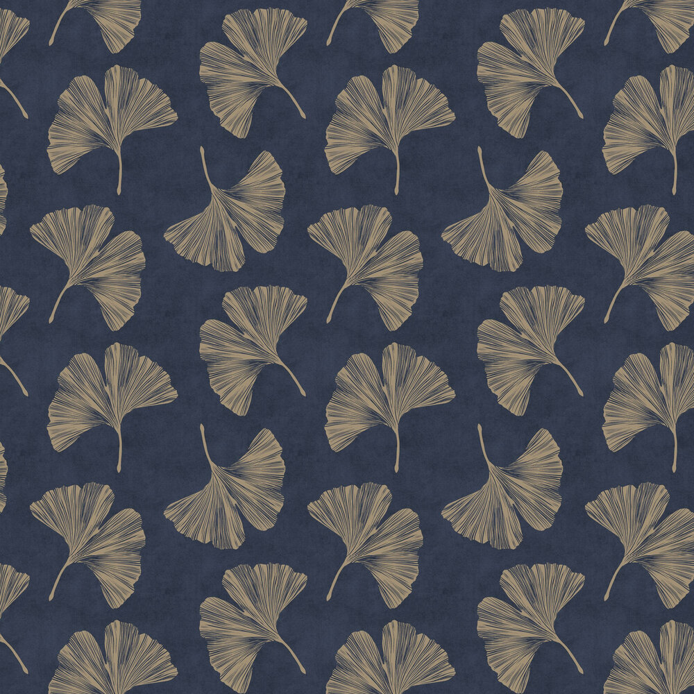 Ginkgo Leaf  Wallpaper - Navy - by Arthouse