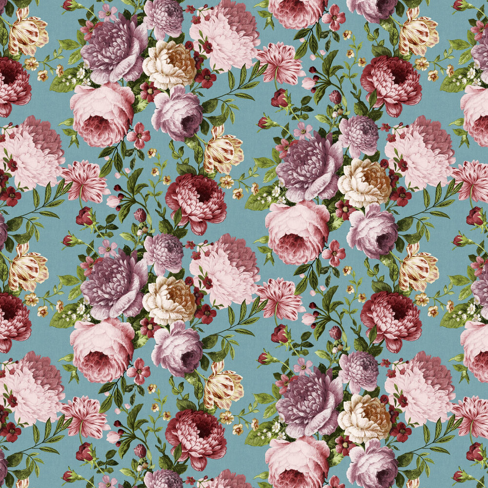 Tapestry Floral  Wallpaper - Teal / Pink - by Arthouse