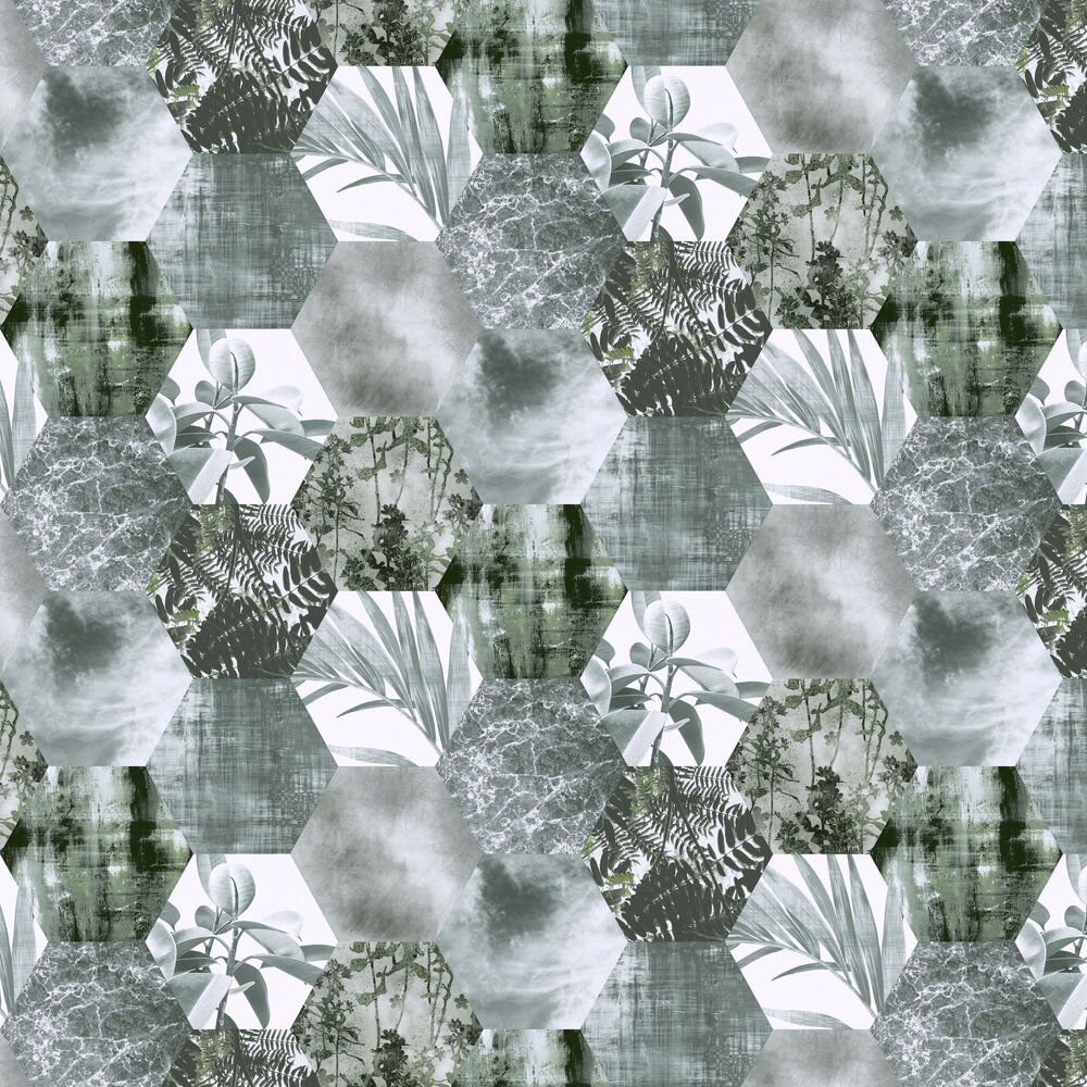 Foliage Hex  Wallpaper - Green - by Arthouse