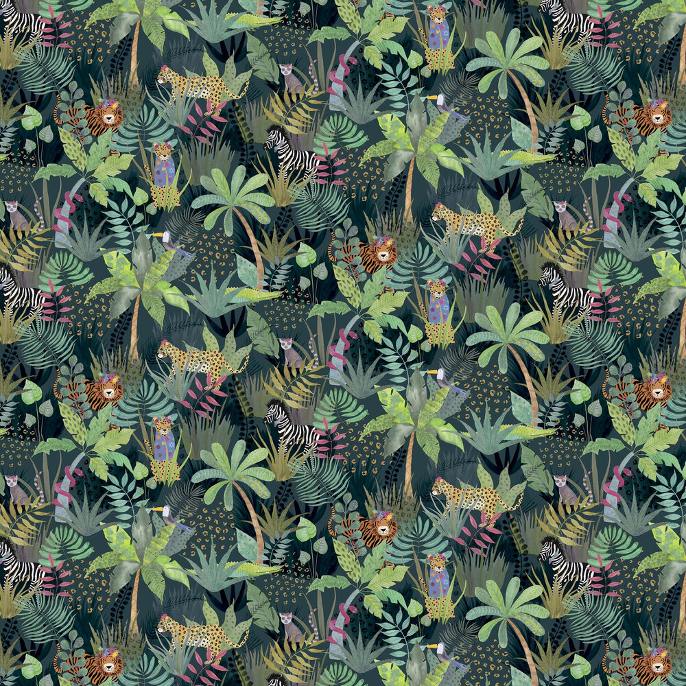Hidden Jungle  Wallpaper - Emerald - by Arthouse