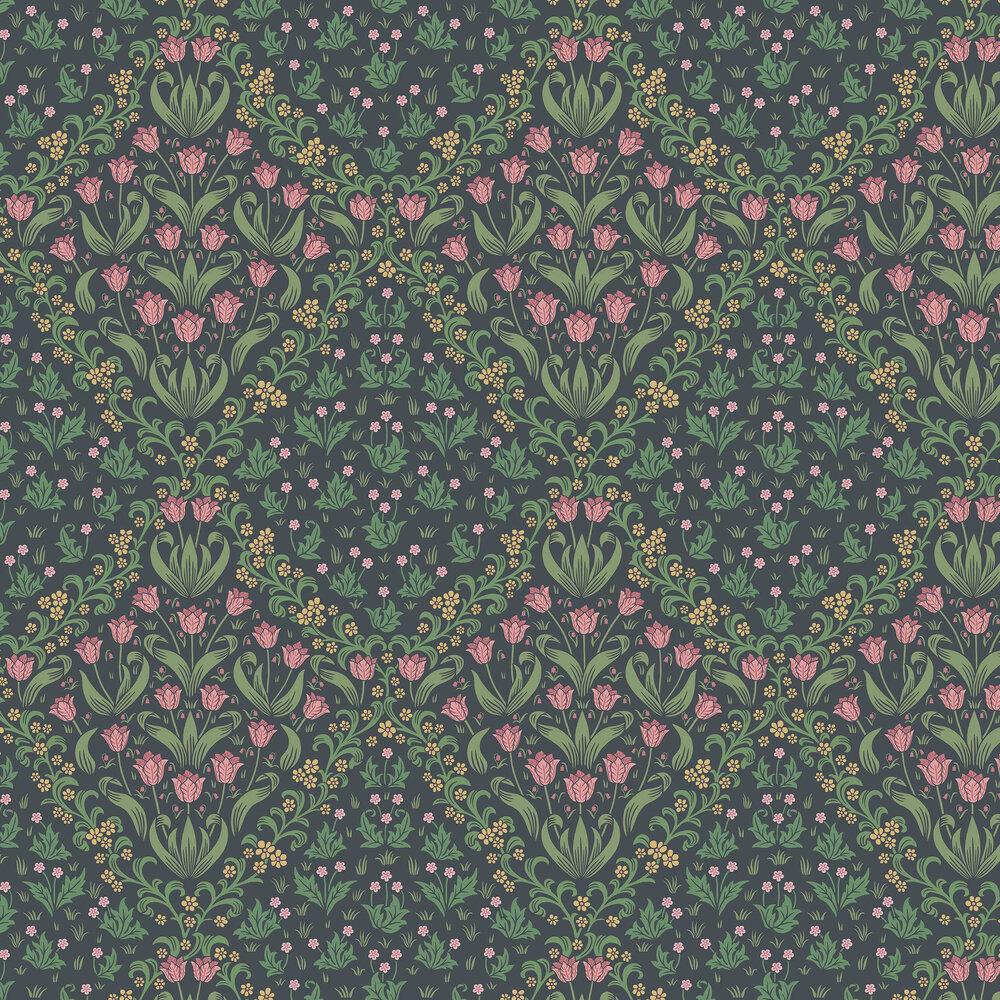 Tudor Garden Wallpaper - Plum / Olive Green - by Cole & Son