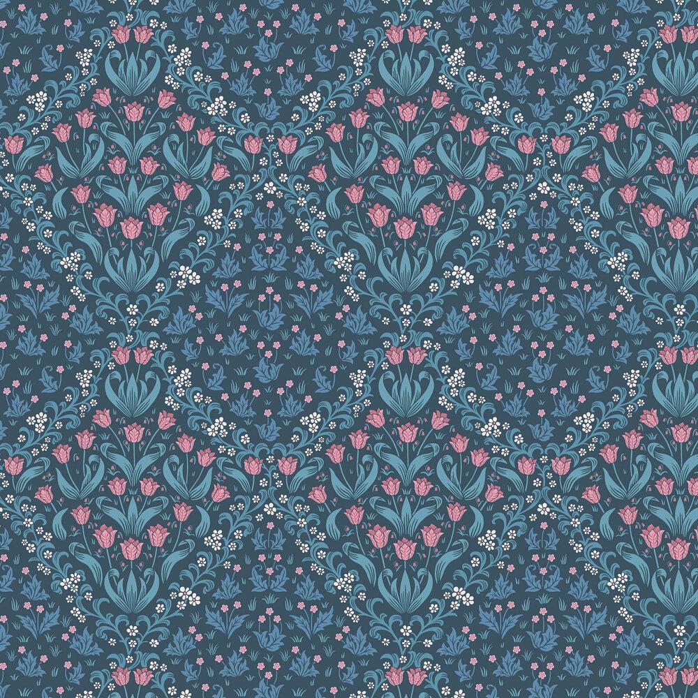 Tudor Garden Wallpaper - Fuchsia / Cerulean Blue - by Cole & Son