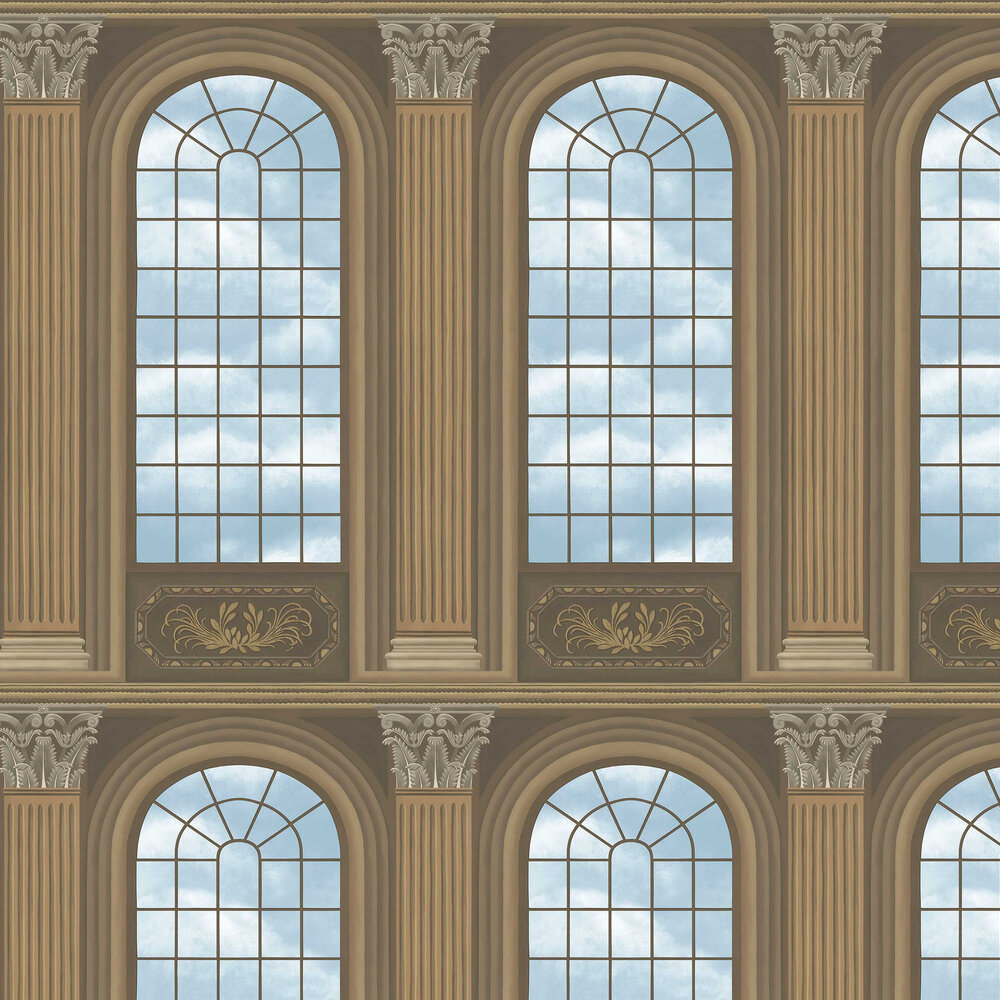 Verrio Sky Wallpaper - Cedar / Sky Blue - by Cole & Son