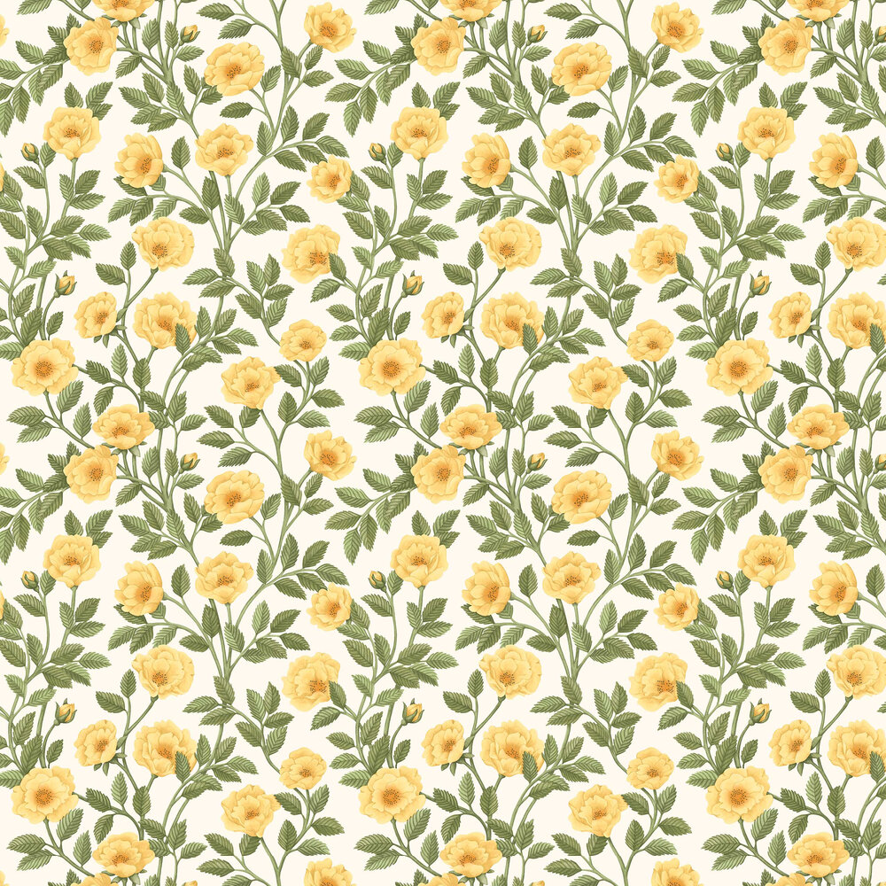 Hampton Roses Wallpaper - Marigold / Olive Green - by Cole & Son