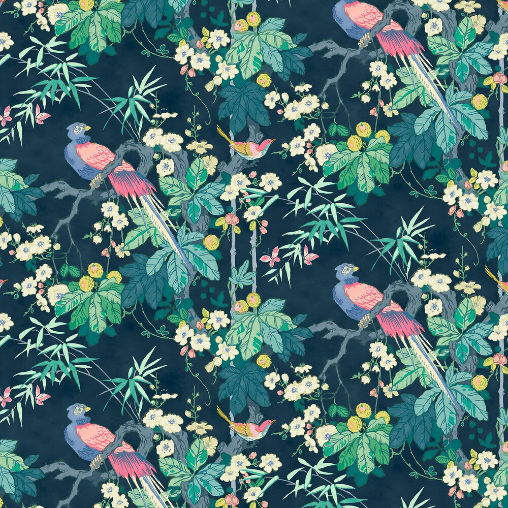 Miji  Wallpaper - Navy - by Linwood