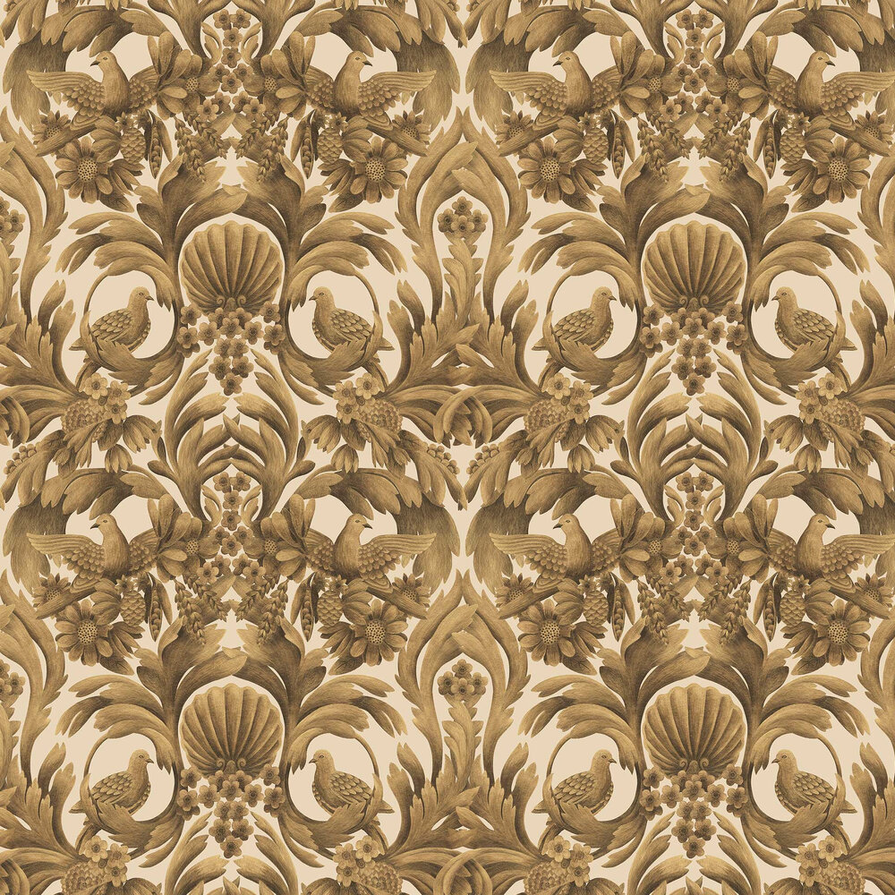 Gibbons Carving Wallpaper - Metallic Gold / Sand - by Cole & Son