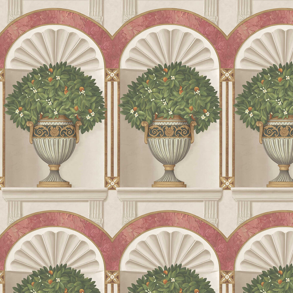 Royal Jardiniere Wallpaper - Spring Green / Rose - by Cole & Son
