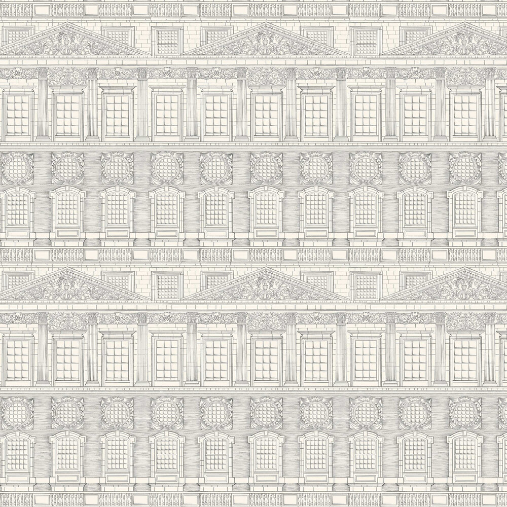Wren Architecture Wallpaper - Soot / Snow - by Cole & Son