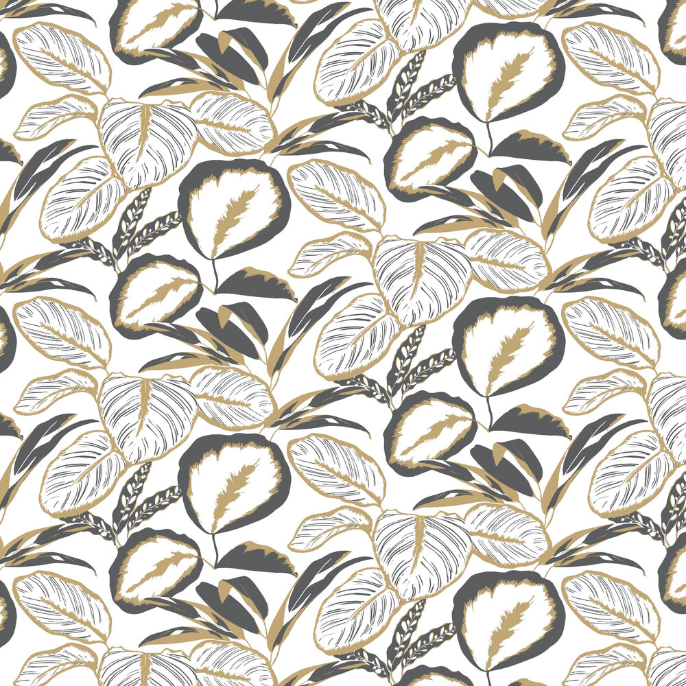 Exotic Leaves Wallpaper - Ochre - by Caselio