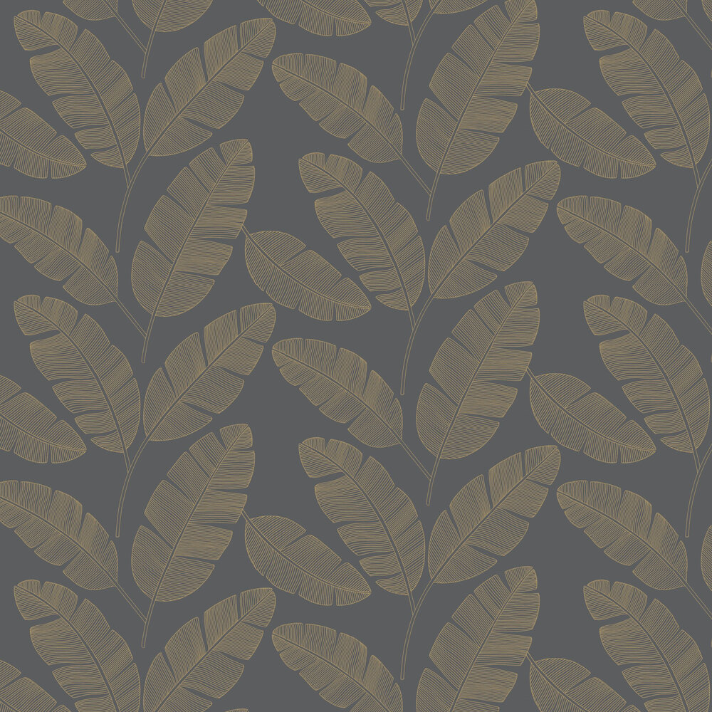Banana Tree Wallpaper - Charcoal - by Caselio