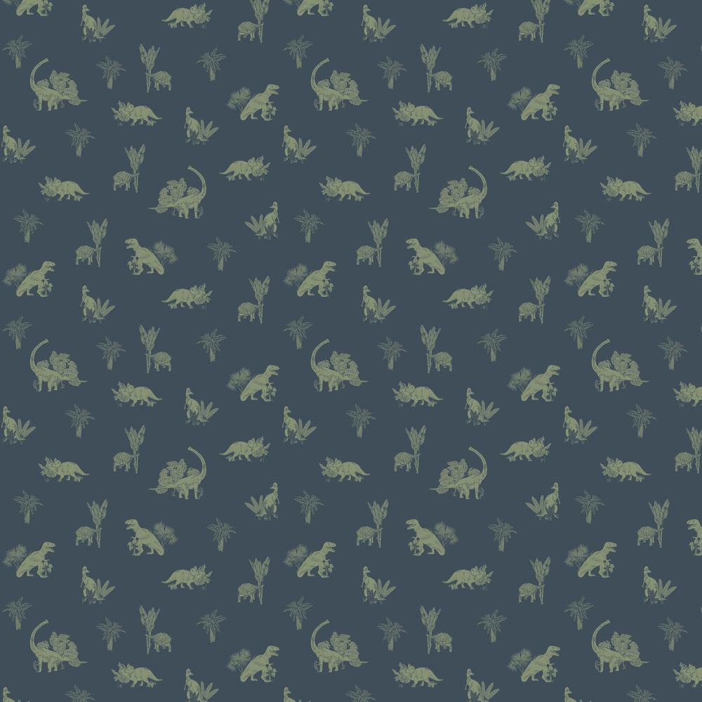 Jurassic Word Wallpaper - Navy - by Caselio