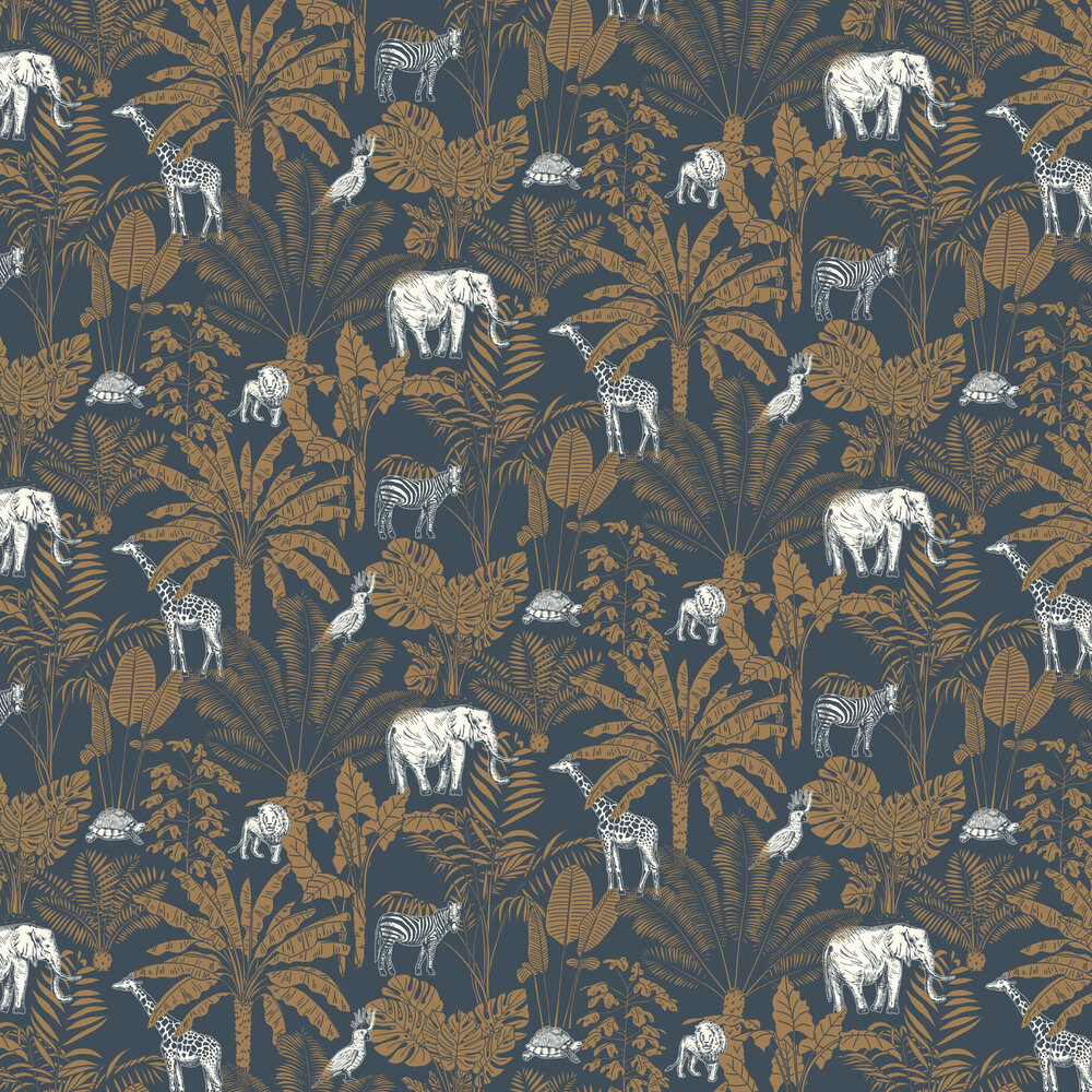 Jungle Trip Wallpaper - Navy / Orange - by Caselio