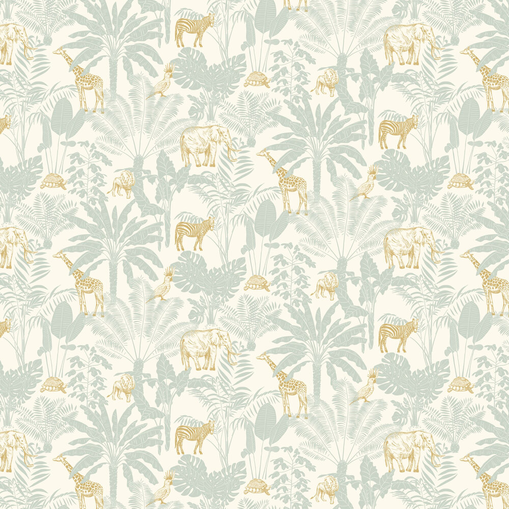 Jungle Trip Wallpaper - Baby Blue - by Caselio