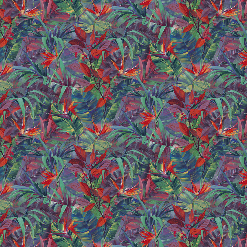 Paradise Flower  Wallpaper - Red Multi - by Albany