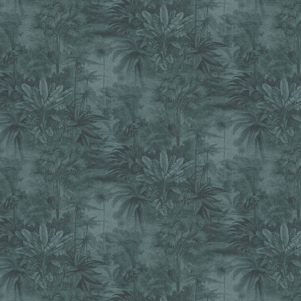 Jungle Scene Wallpaper - Teal - by Albany