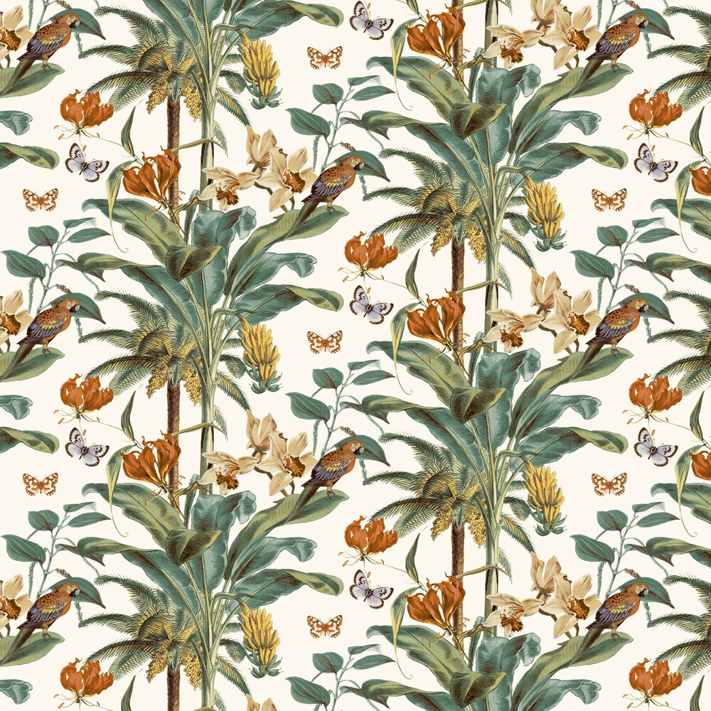 Tropical Palm Wallpaper - Rust Multi - by Albany
