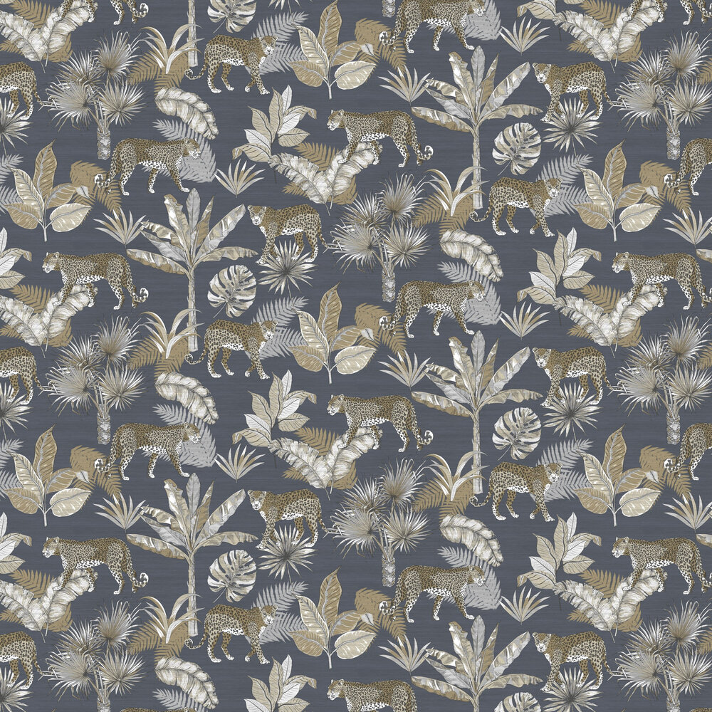Leopard Wallpaper - Charcoal - by Albany