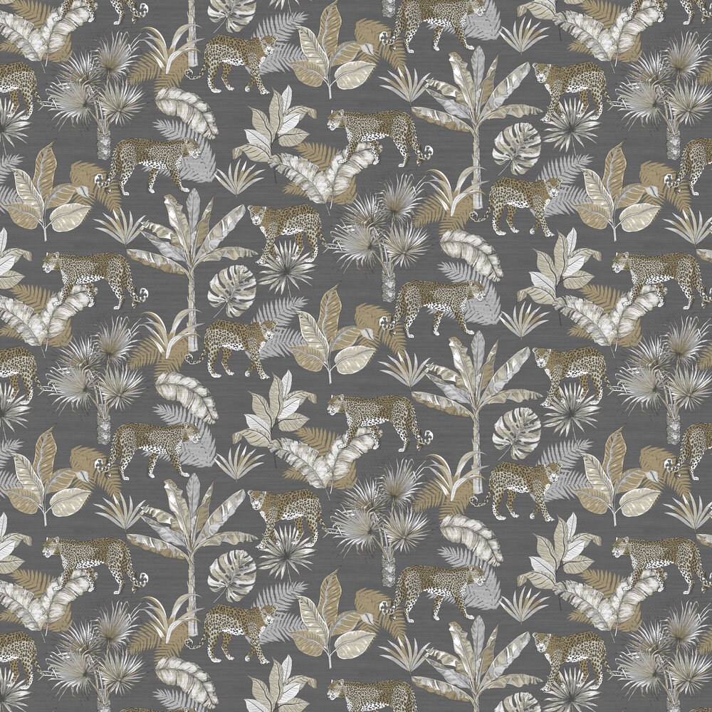 Leopard Wallpaper - Grey - by Albany