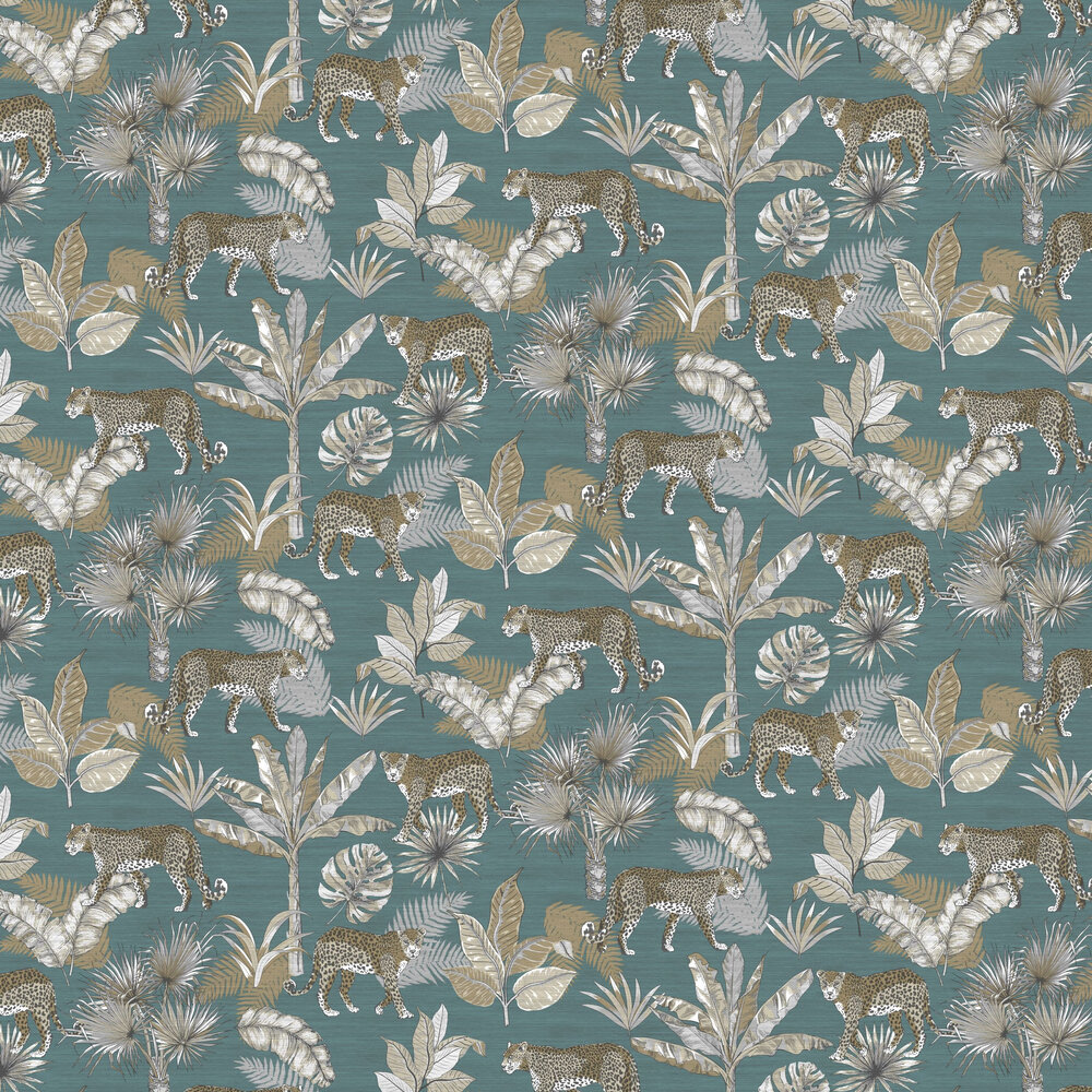 Leopard Wallpaper - Teal - by Albany