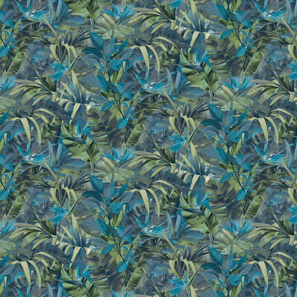 Paradise Flower  Wallpaper - Blue Multi - by Albany