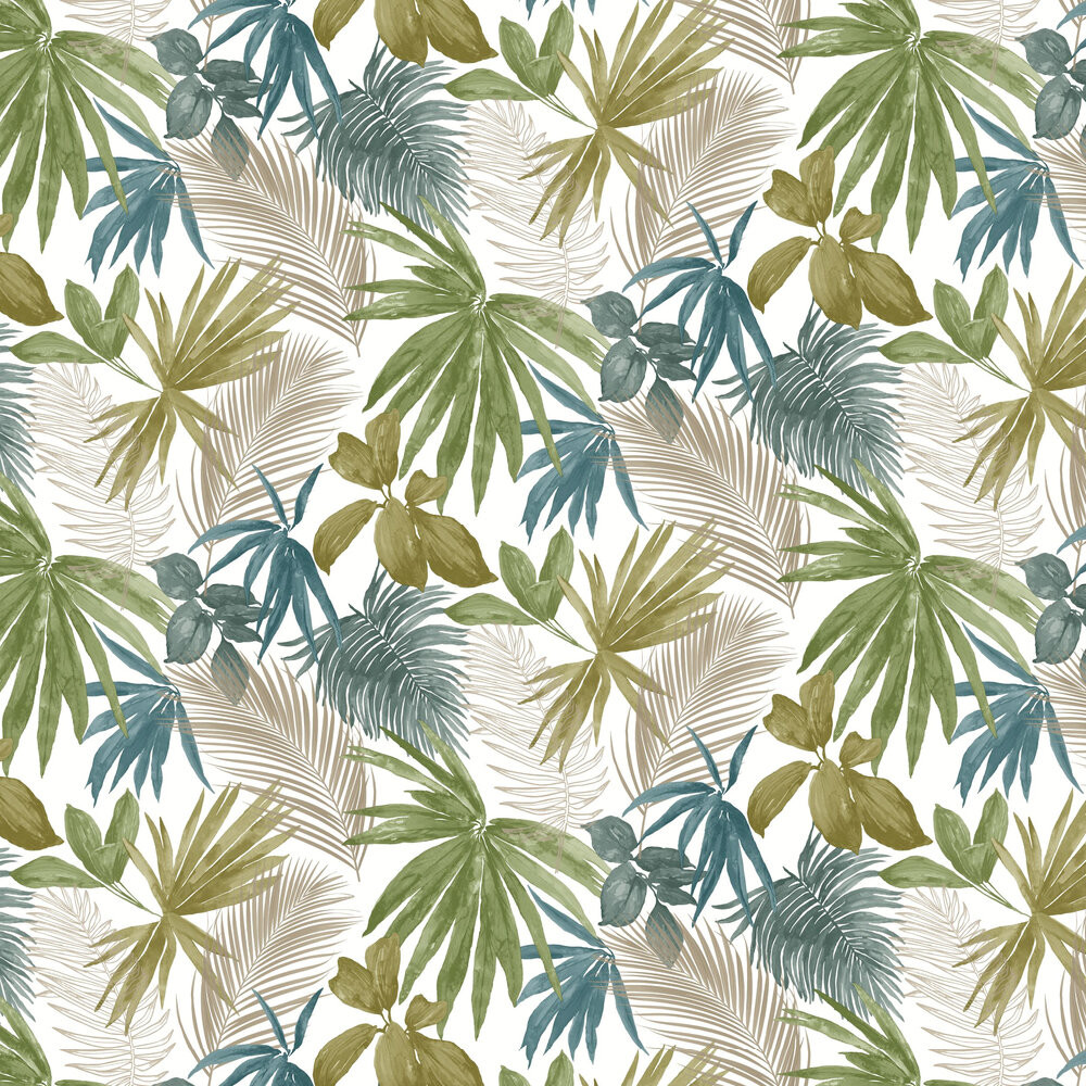 Wild Palms Wallpaper - Teal - by Albany